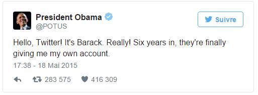 Le premier Tweet de Barack Obama